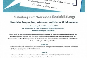 Einladung zum Workshop Basisbildung
